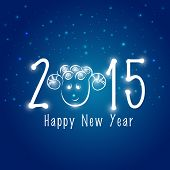 Happy New Year 2015 celebrations with sheep face on stars decorated blue background.