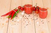 Tomato juice composition. Close up.