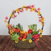 Harvesting Basket With Fresh Vegetables