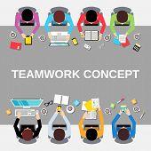 Teamwork people top view