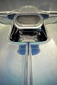 stock photo of dragster  - supercharger and hood closeup on a custom drag racing car - JPG