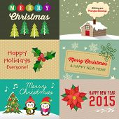 Vector collection of vintage Christmas elements, icons, illustration and holiday cards