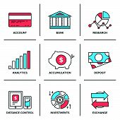 Banking And Finance Line Icons Set