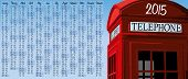 2015 calendar with british red phone booth