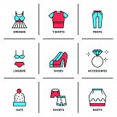 image of short skirt  - Flat line icons set of basic clothing and accessories like dresses pants t - JPG