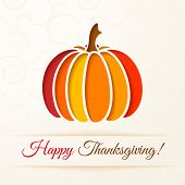 Beige Background With Cut Out Colorful Pumpkin. Thanksgiving Card. Vector Illustration