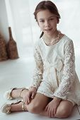 picture of ivory  - Fashion 7 years old model dressed in ivory lace dress pastel tone - JPG
