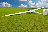 image of glider  - Sailplane glider airplane wide angle shot on the ground field waiting for take - JPG