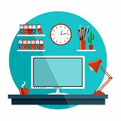 Flat Vector Illustration With Office