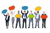 Business People Holding Speech Bubbles