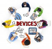 Group of People Brainstorming with Devices