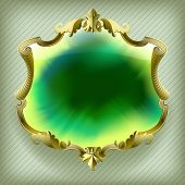 Gold baroque frame with green Ink blot background. Contain the Clipping Path