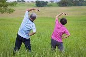 Senior Couple Doing Gymnastics In The Park.healthy Concept