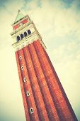 Campanile on San Marco square in Venice, Italy. Instagram style filtred