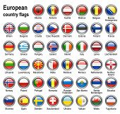 shiny web buttons with european country flags