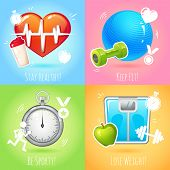 Healthy lifestyle illustration set