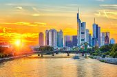 Frankfurt am Mine at sunset, Germany