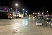 People Walking On Seafront In Yalta City In Night