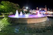 Fountain On Seafront Of Yalta City In Night