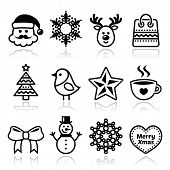 pic of rudolf  - Xmas vector black icons set with stroke isolated on white - JPG