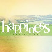 Inspirational Typographic Quote - Happiness is a state of mind