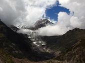 Ganggapurna Glacier Covered In Monsoon Clouds