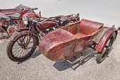 Old Motorcycle Indian Scout Side 600 Cc With Sidecar (1923)
