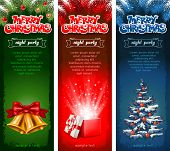 Set of three beautiful vertical Christmas flyers. Vector illustration.