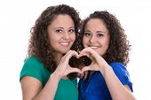 stock photo of identical twin girls  - Happy young girls making heart with hands - JPG