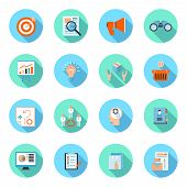 Marketers flat icons set