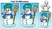 Find differences theme with snowman - eps10 vector illustration.