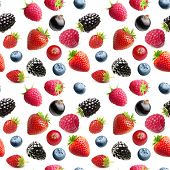 Berries isolated on white. Seamless pattern background