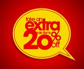 Take an extra 20% off speech bubble coupon.
