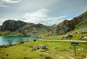 Lake Enol in Picos de Europa National Park, Covadonga,  Asturias, Spain.