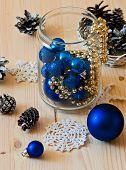 Blue Christmas Decorative Balls In Glass Jar