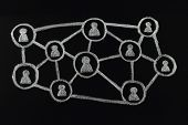 Chalk social media scheme drawn on blackboard