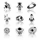 Space icons black and white set