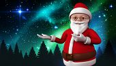 Cute cartoon santa claus against aurora shimmering over forest at night