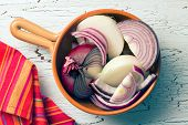 chopped onion in ceramic pan
