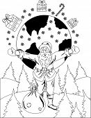 Smiling Santa Claus in forest with a globe