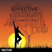Vector concept or conceptual black business text word cloud on sunset with sun grass with a man jumping background