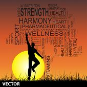 Vector concept or conceptual black health text word cloud as tree and grass, a man jumping on sunset with sun background