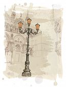 Venice. Piazza San Marco. lantern on St. Mark's Square. Vector illustration. Eps10