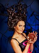 pic of witch ball  - Young woman  with crystal ball - JPG