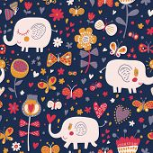 Gentle seamless pattern for children's wallpapers. Cute elephants in flowers and butterflies. Seamless pattern can be used for wallpapers, pattern fills, web page backgrounds, surface textures.