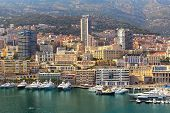View of marina, residential buildings and hotels in Monte Carlo, Principality of Monaco.
