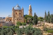 Abbey of Dormition and catholic cemetery in Old City of Jerusalem, Israel.
