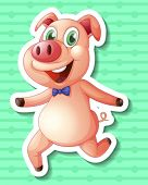 Illustration of a pig with green background
