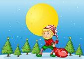 Illustration of an elf pulling a christmas bag