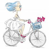 Vector Cute Girl Rides A Bicycle
